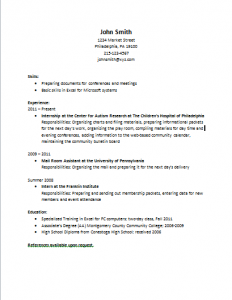experiences and developing a resume center for autism research