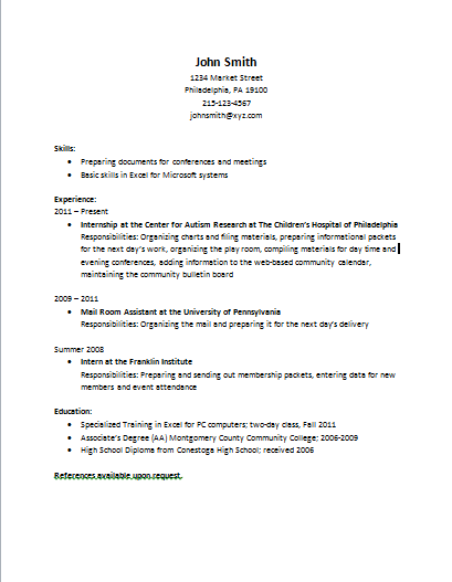 should a resume have references